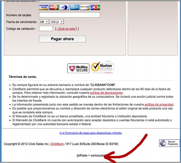 Enlace Afiliado directo al Formulario de Pago ClickBank