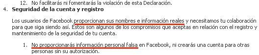 Facebook normas